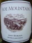 P1040540 Jade Mountain Syrah Red Hills Lake County 2007