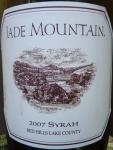 Jade Mountain Syrah Red Hills Lake County 2007