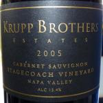 P1040756 Krupp Brothers Estate Cabernet Sauvignon Stagecoach Vineyard 2005