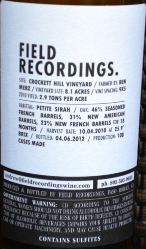 DSC_0687 Field Recordings Petite Sirah Back Label