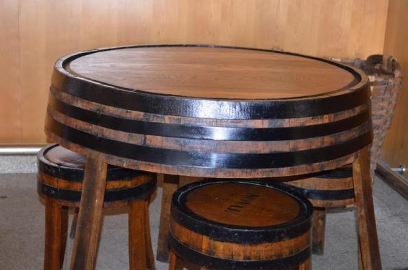 barrel table and stools at Quinta de Noval
