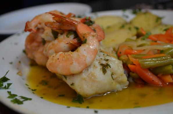 grilled bacalhau with shrimp