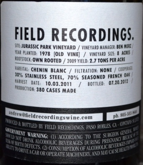 Field Recordings Chenin Blanc back label
