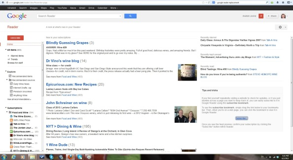 My Google reader Screen - see how everything is grouped by the blogs?