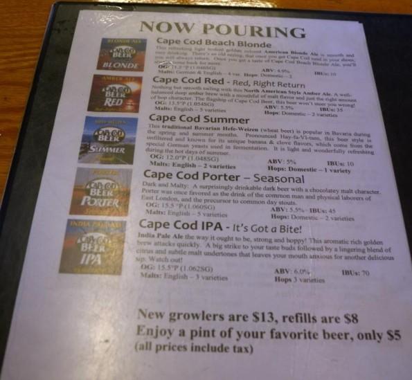 Beer tasting list at Cape Cod Beer