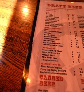 Beer list at Bar Q
