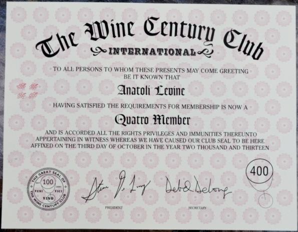 Wine Century Clun Quattro Certificate
