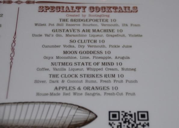 Cocktail menu at Barnum Publick House