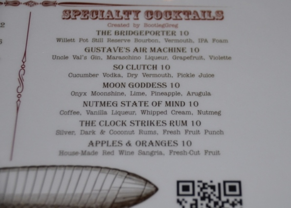 Cocktail menu at Barnum Publick House