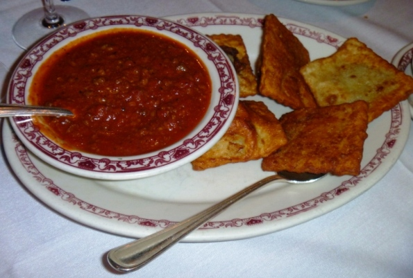 Fried Ravioli with Meat Sauce