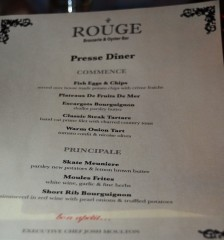 Our dinner menu