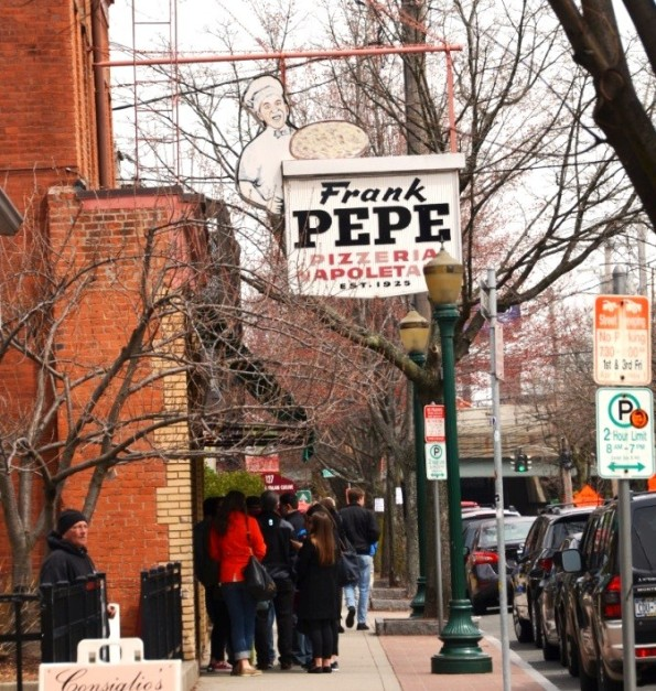 Frank Pepe pizza - waiting