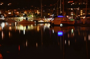 San Diego marina at night
