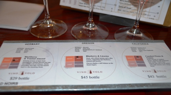 Pinot Noir tasting Flight at Vino Volo