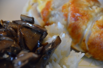 stuffed chicken breast rollatini with rice and mushrooms