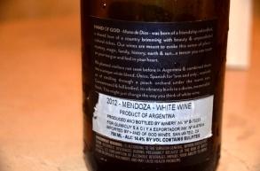 Hand of God wine Back label