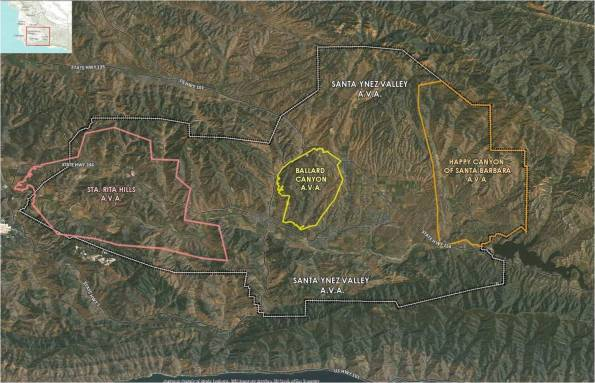 Map of Ballard Canyon AVA
