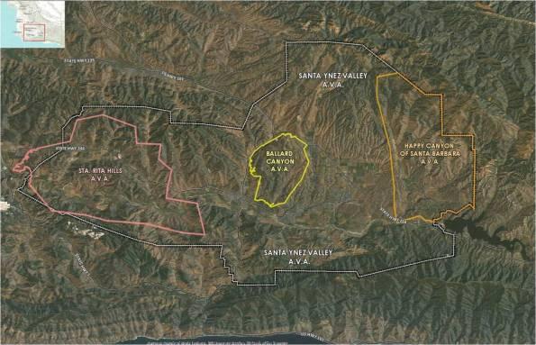 Map of Ballard Canyon AVA