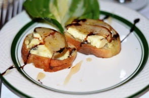Crostini with Roasted Pear Gorgonzola and a Balsamic Drizzle