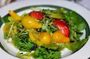 Micro greens with Strawberries and a Lemon Vinaigrette
