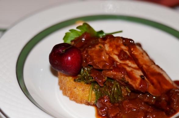 Guinness Marinated Pork, Cherry Au Jus, Arugula