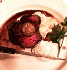 Beef Tenderloin over Mashed Celery Root, Bordelaise, Tiny mini Potato au Gratin