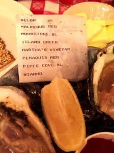 Oyster's selection at Oyster Bar NY