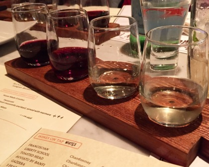 wine flight at Brick+Wood