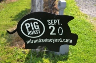 MIranda Vineyards Pig Roast sign
