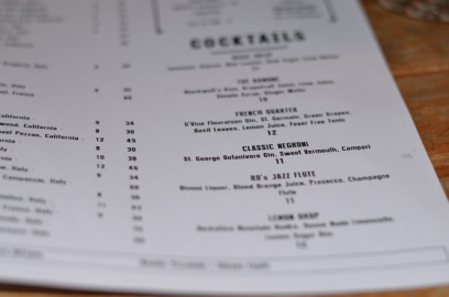 Cocktail list at Amore Restaurant
