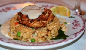 Crab Cake with green pea risotto Brasserie Louis