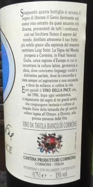 Vino Della Pace Left Side label