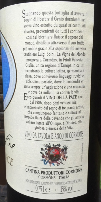 Vino Della Pace Left Side label