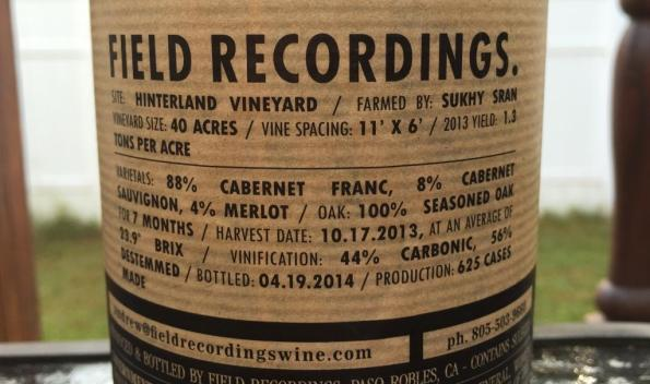 Field Recordings Cabernet Franc Back Label