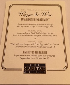 Wagyu and Wine at Capital Grille