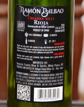 Ramon Bilbao Rioja Back Label