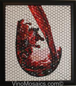 This beautiful artwork is constructed from top wine foils. Picture courtesy of Ryan Sorrellof VinoMosaic.com