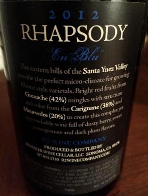 R Squared Rhapsody En Blu Back Label