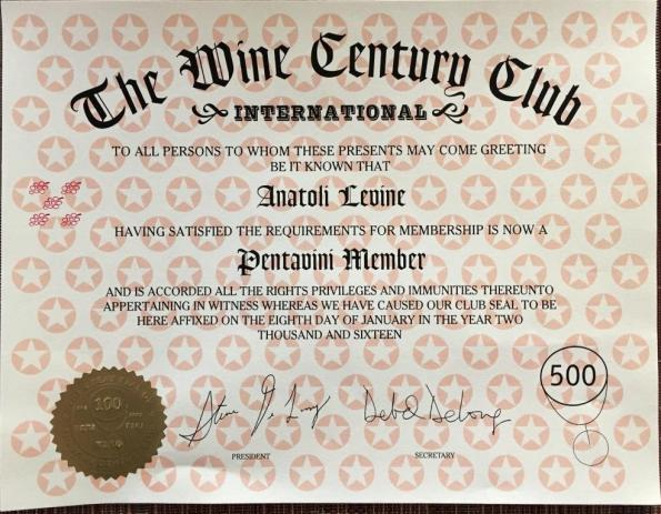 The Wine Century Club Pentavini Certificate