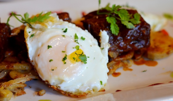Fried egg on short rib hash at Noir Stamford