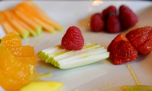 Selection of fruit - focus on raspberry at Noir Stamford