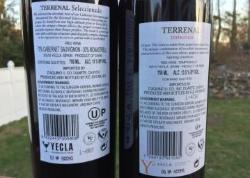 Terrenal Tempranillo and Seleccionado Back Labels
