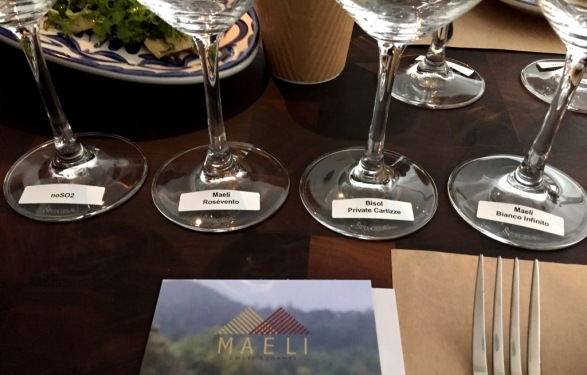 Bisol and Maeli tasting setup 2