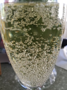 Yarden Blanc de Blancs in the glass