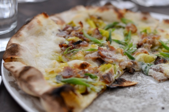 PORRI E PANCETTA pizza at Marta NYC