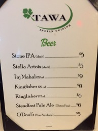 Beer list at Tawa