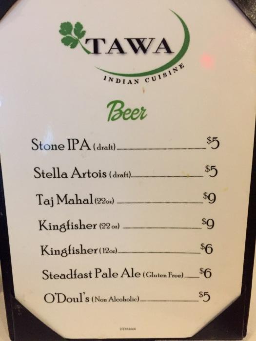 Beer list at Tawa