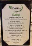 Cocktails list at Tawa