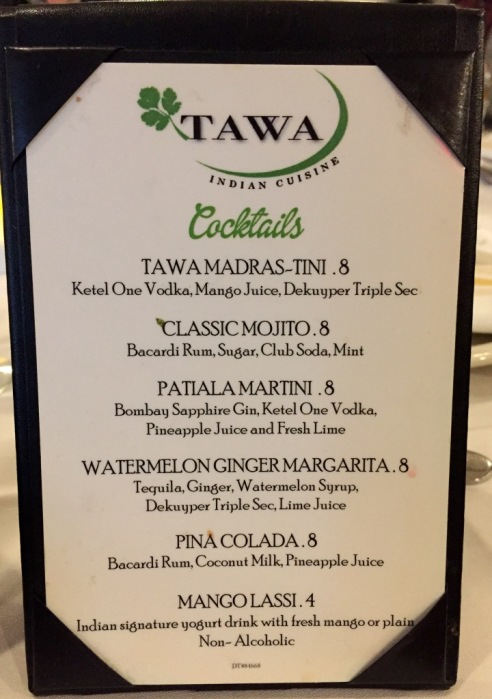 Cocktails list at Tawa