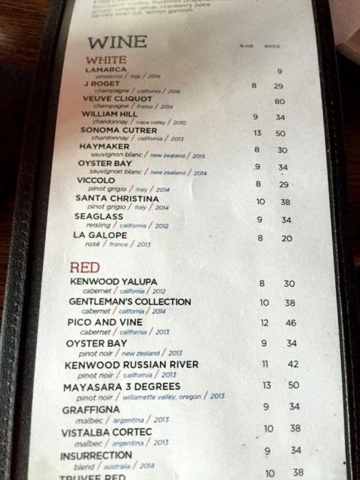 Wine List at Sing Of the Whale